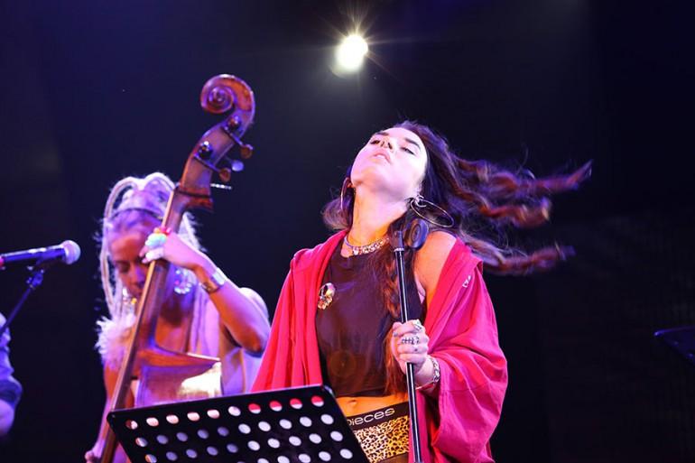 Maxida Märak and Kajsa Kjellgren Westin with Downhill Bluegrass Band at Sami Easter Festival Kautokeino