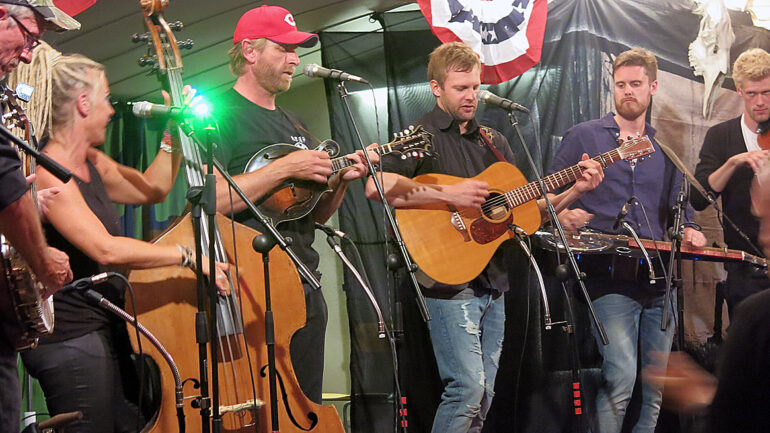 Mikael Grund hits a solo at Naasville Bluegrass Festival